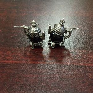 Sterling Silver and onyx teacup earrings